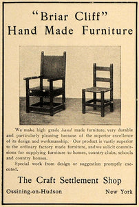 1906 Ad Craft Settlement Briar Cliff Handmade Chairs - ORIGINAL ADVERTISING CL8