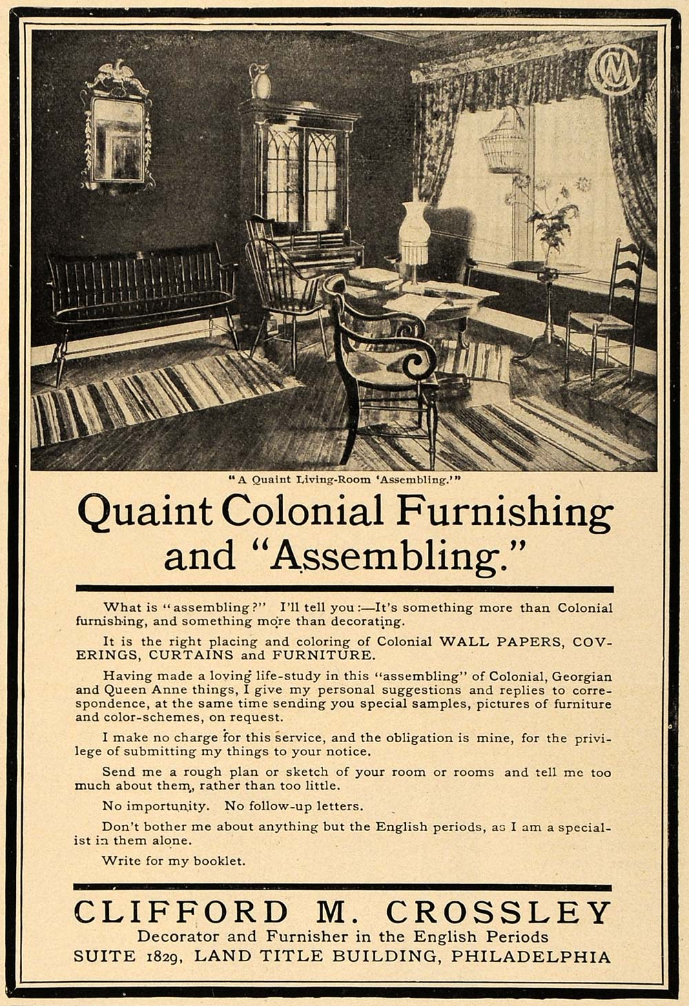 1906 Ad Clifford M Crossley Quaint Colonial Furnishing - ORIGINAL CL8