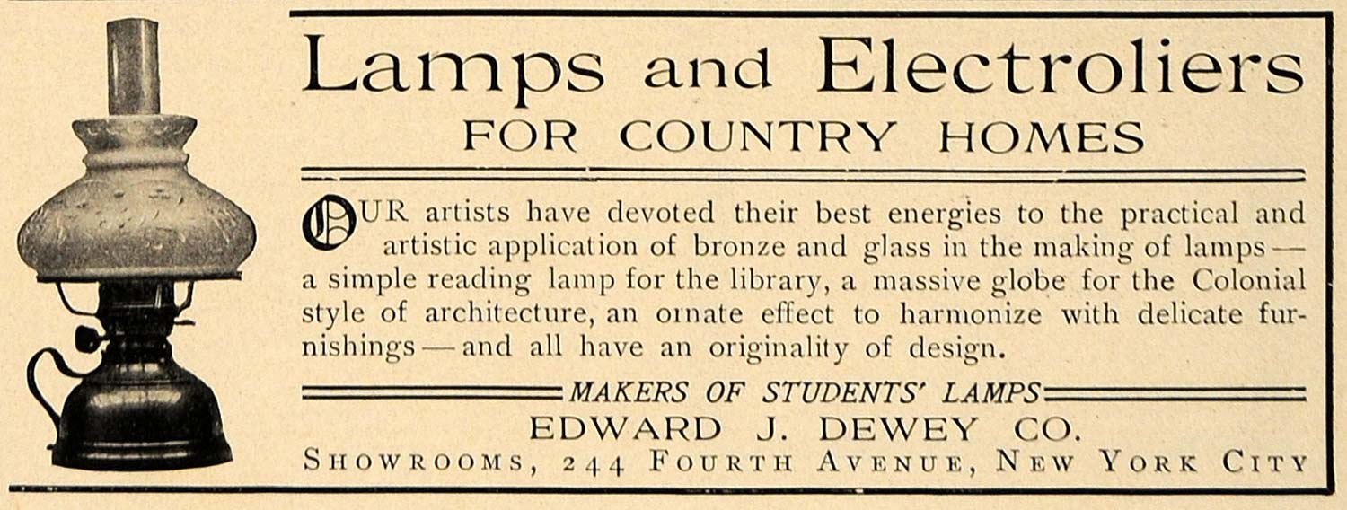 1906 Ad Edward J Dewey Lamps Electroliers Home Decor - ORIGINAL ADVERTISING CL8