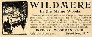 1906 Ad Wildmere Camp Boys Maine Woods Canoeing Sports - ORIGINAL CL8