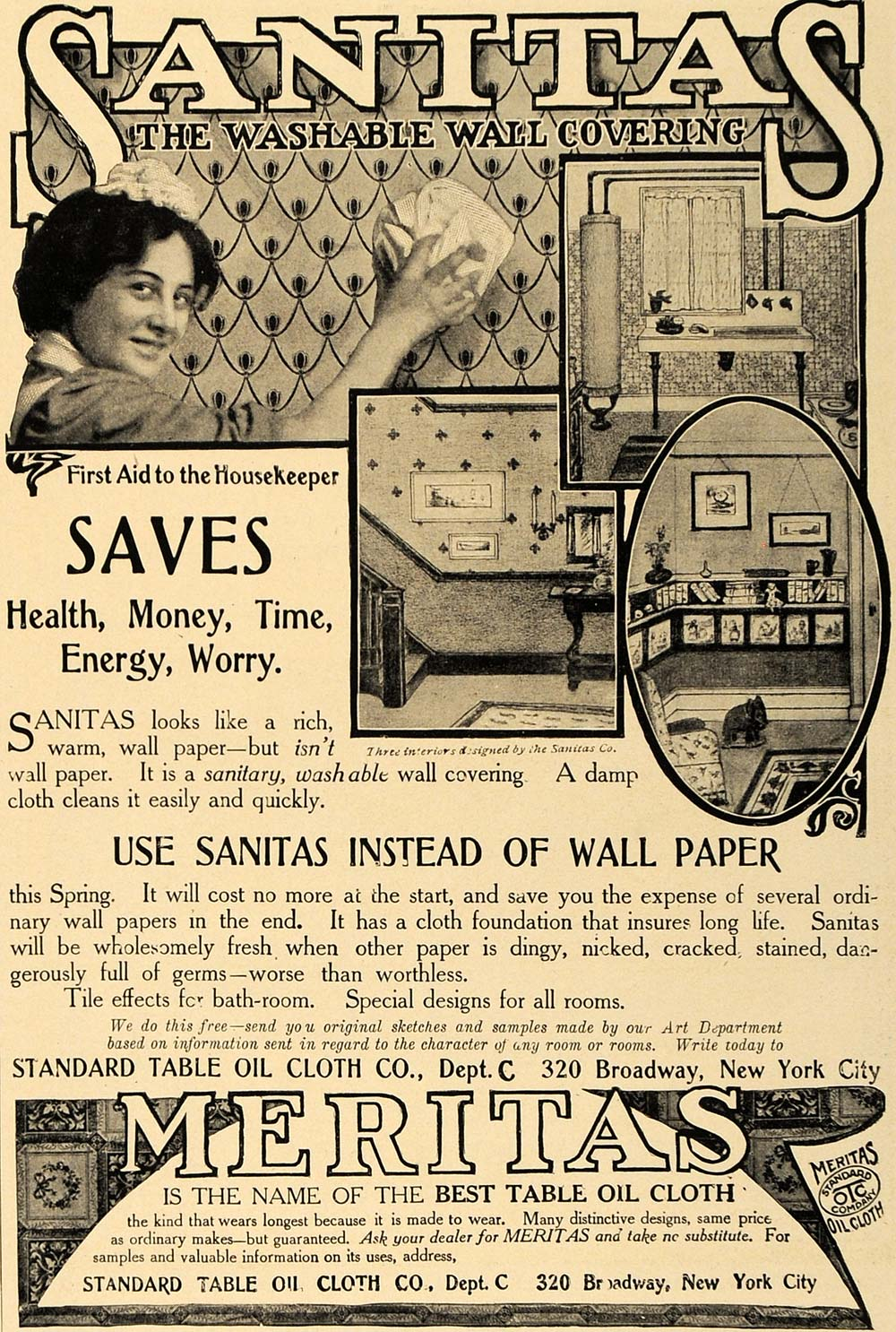 1906 Ad Standard Table Oil Cloth Sanitas Washable Wall - ORIGINAL CL8