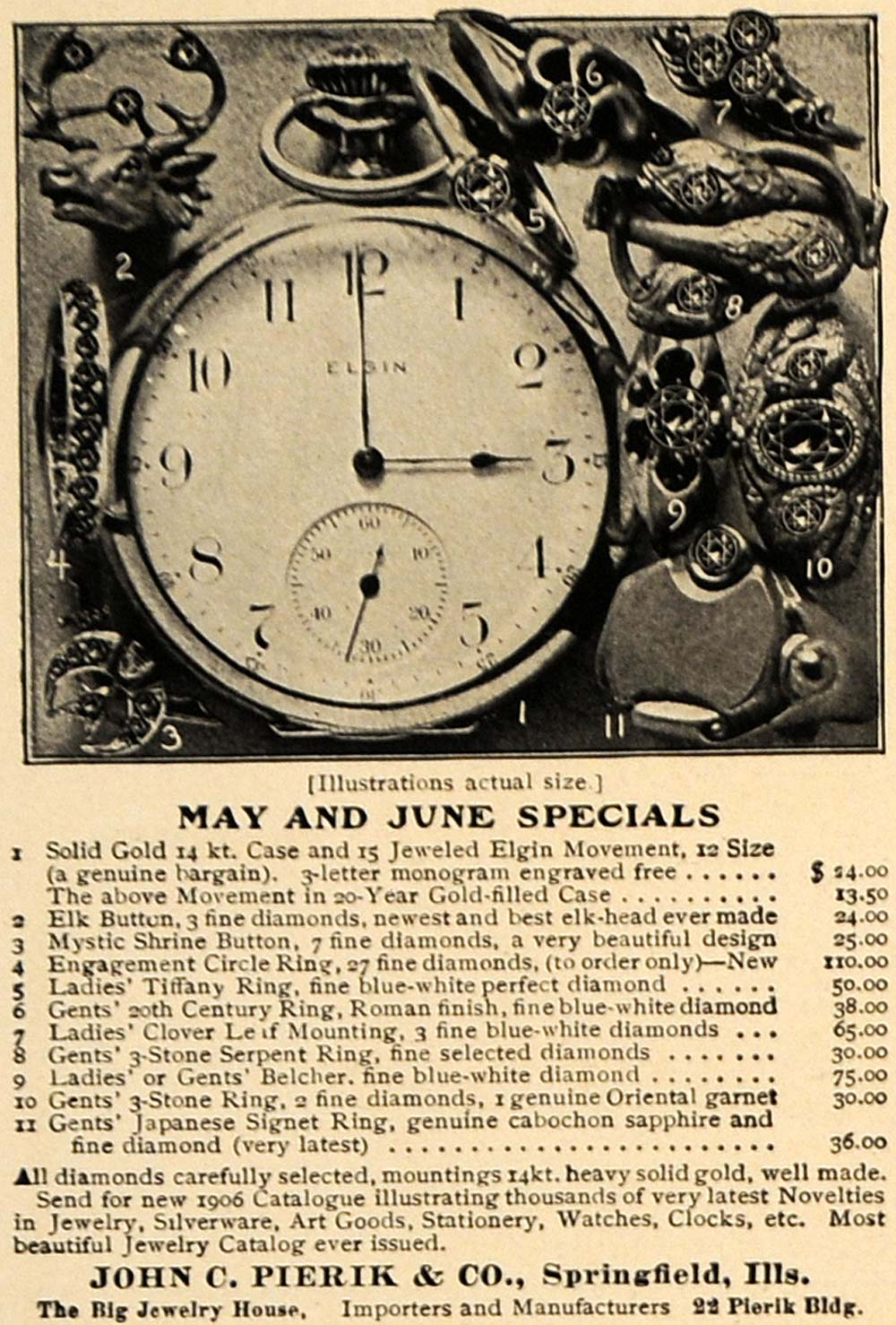 1906 Ad Pocket Watch Jewelry Ring John C Pierik Company - ORIGINAL CL9