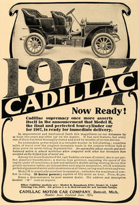 1906 Ad 1907 Cadillac Model H M K Car Runabout Touring - ORIGINAL CL9