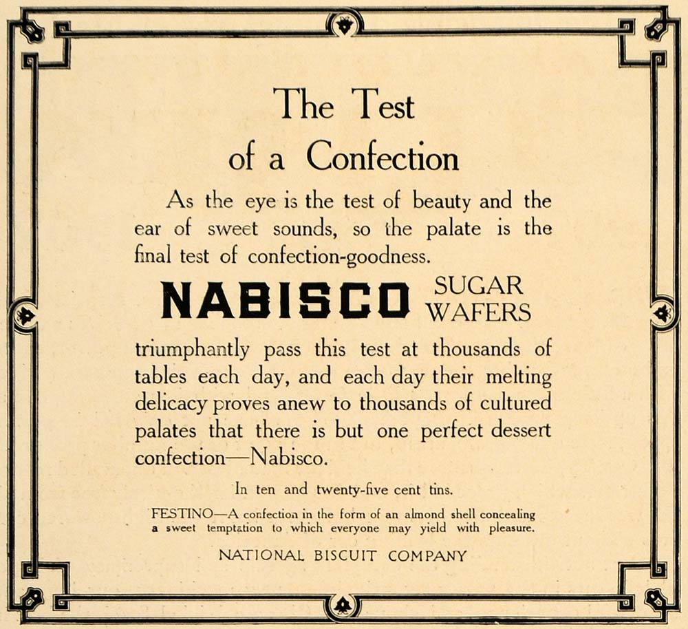 1906 Ad Nabisco Sugar Wafers Kraft Foods Largest Bakery - ORIGINAL CL9