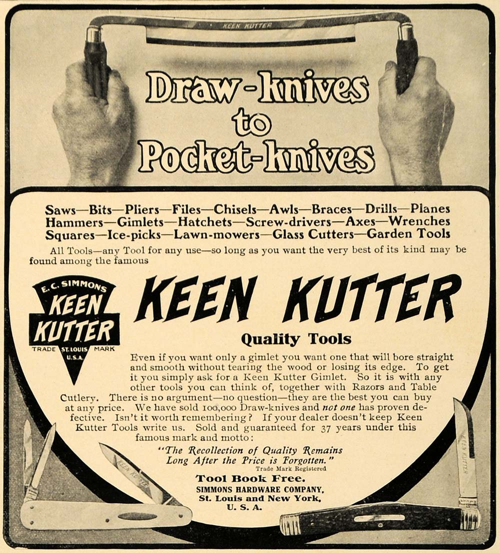 1906 Ad Keen Kutter Tools Saw Pocket Knives Awl Simmons - ORIGINAL CL9