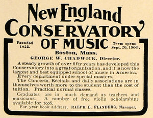 1906 Ad New England Conservatory Music George Chadwick - ORIGINAL CL9