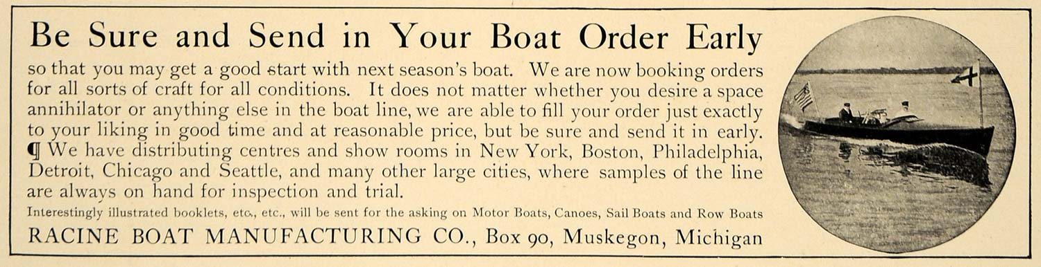 1906 Ad Racine Boat Manufacturing Muskegon Michigan - ORIGINAL ADVERTISING CL9