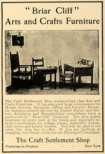 1906 Ad Briar Cliff Art Craft Settlement Shop Furniture - ORIGINAL CL9