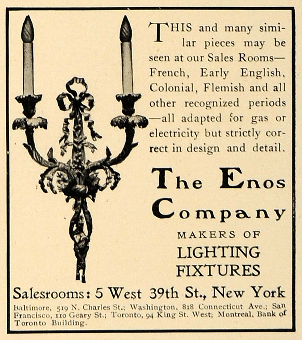 1906 Ad French Wall Hanging Light Fixture Enos Company - ORIGINAL CL9