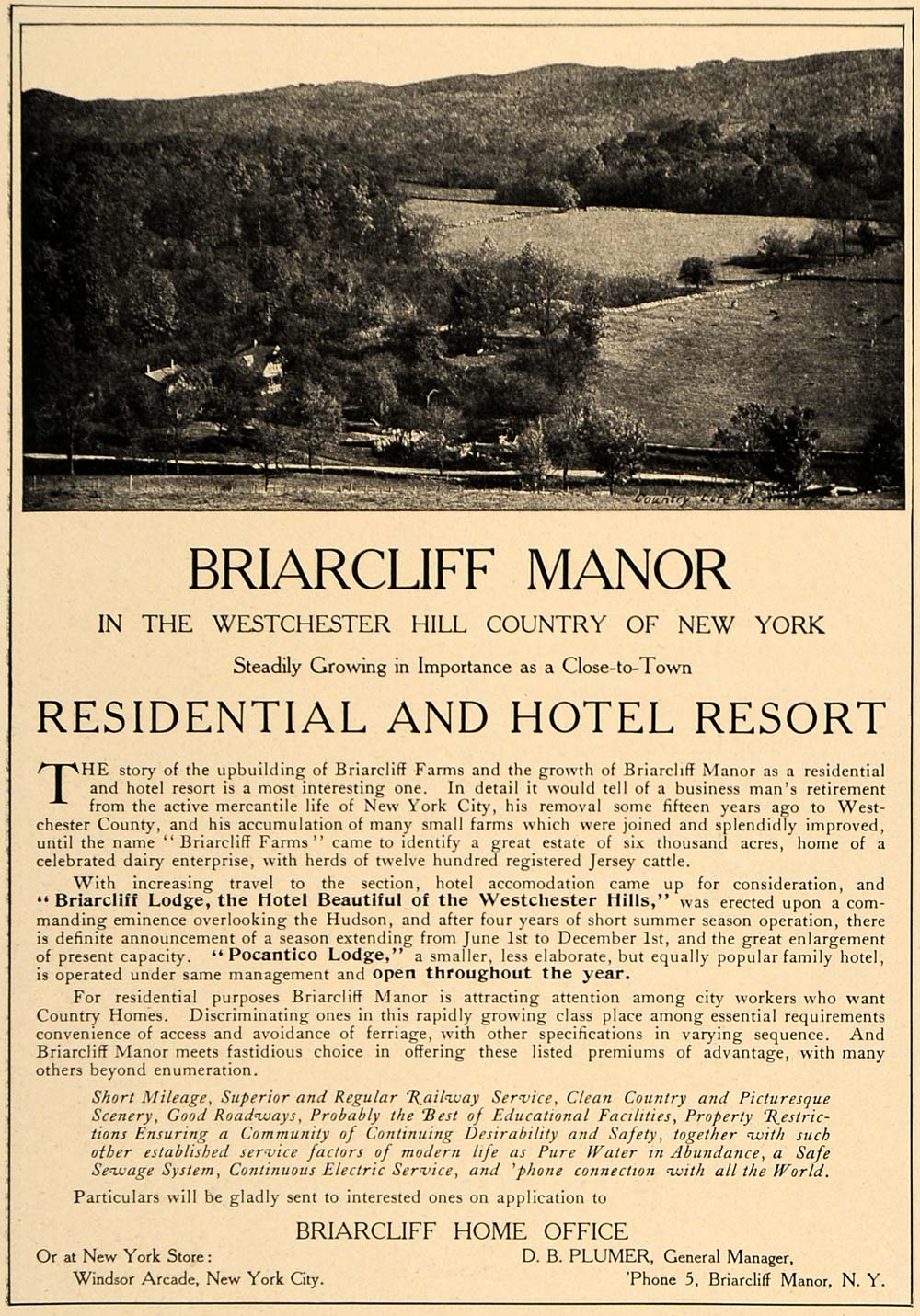 1906 Ad Briarcliff Manor Residential Hotel Resort Lodge - ORIGINAL CL9