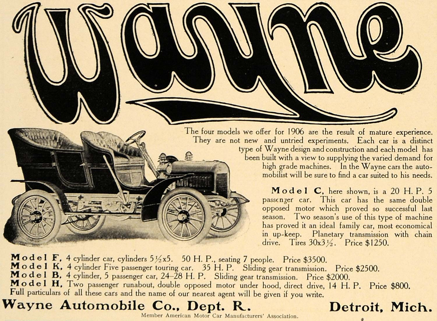 1906 Ad Model C Wayne Automobile Touring Runabout Cars - ORIGINAL CL9