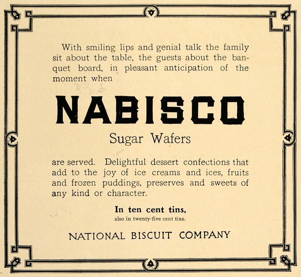 1907 Ad Kraft Food Nabisco Sugar Wafer National Biscuit - ORIGINAL CL9