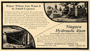 1907 Ad Niagara Hydraulic Engine Ram Water Pump Homes - ORIGINAL ADVERTISING CL9