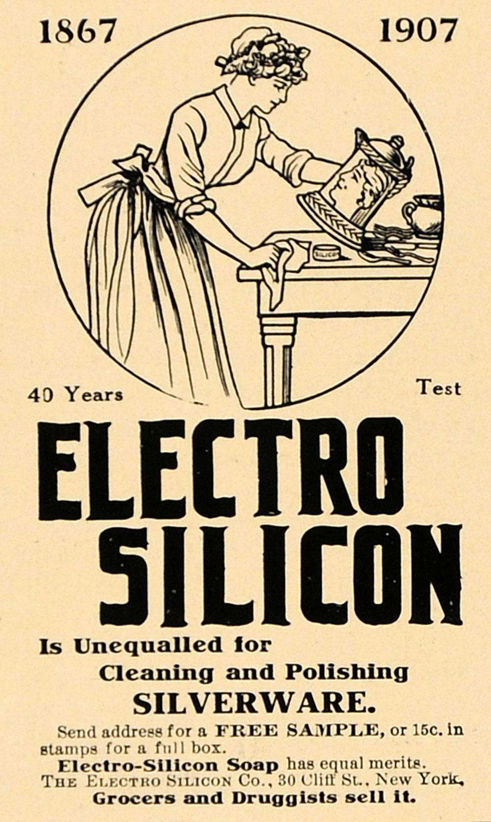 1907 Ad Electro Silicon Cleaning Polishing Silverware - ORIGINAL ADVERTISING CL9