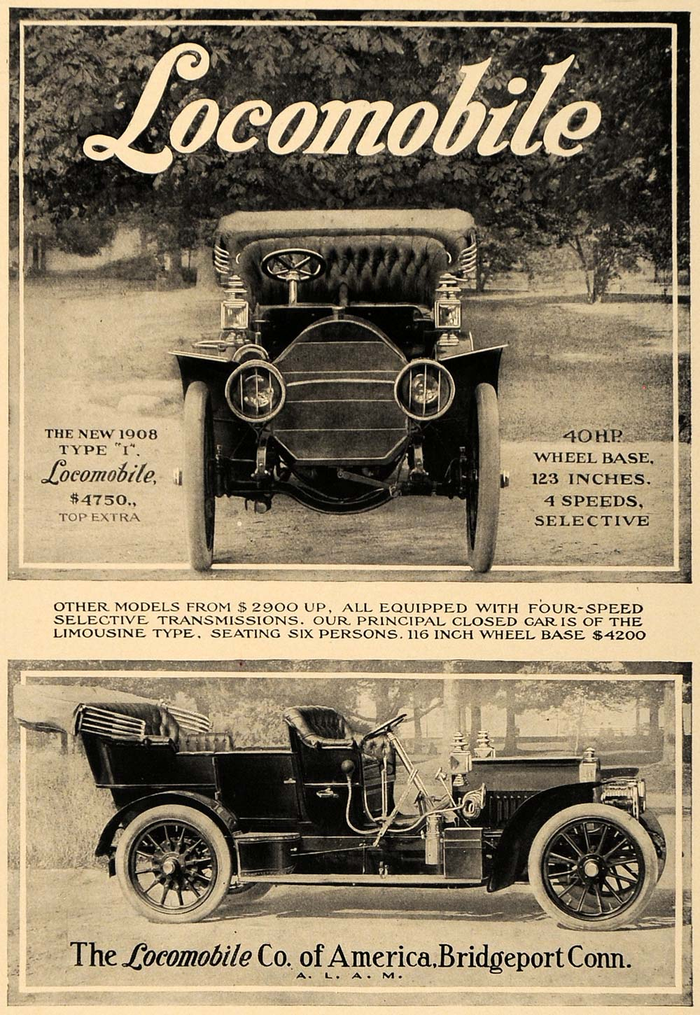 1907 Ad Locomobile 1908 Type I Antique Cars Pricing - ORIGINAL ADVERTISING CL9