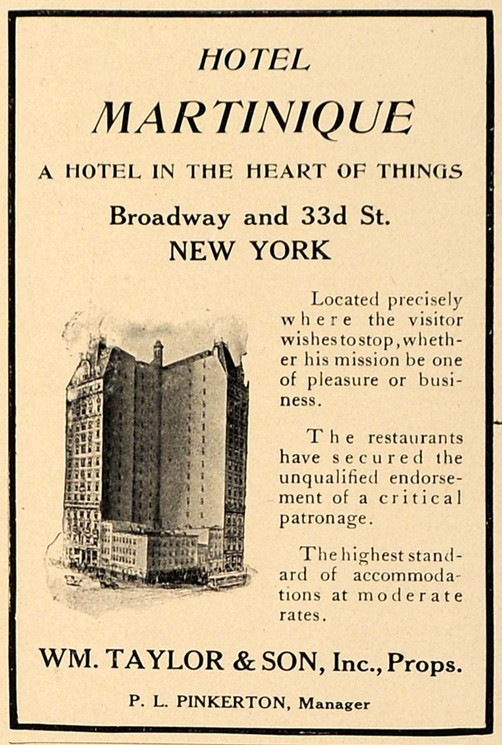 1907 Ad Hotel Martinique NY WM. Taylor P.L. Pinkerton - ORIGINAL ADVERTISING CL9