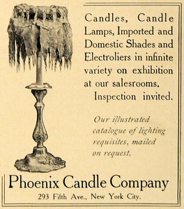 1907 Ad Phoenix Candles Lamps Shades Electroliers - ORIGINAL ADVERTISING CL9