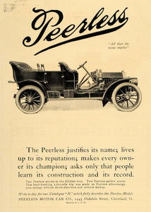 1907 Ad Peerless Motor Car Automobile Vintage Auto - ORIGINAL ADVERTISING CL9