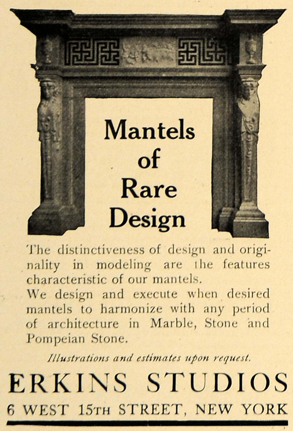 1907 Ad Erkings Studios Mantels Design Pompeian Stone - ORIGINAL ADVERTISING CL9
