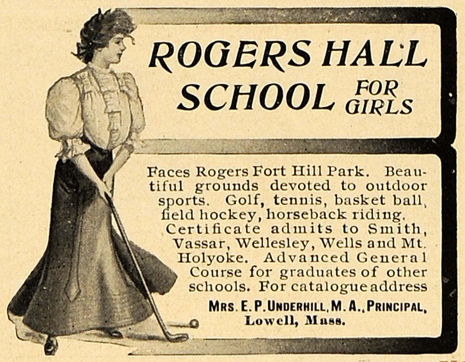 1906 Ad Rogers Hall School Girls Golfing Massachusetts - ORIGINAL CL9