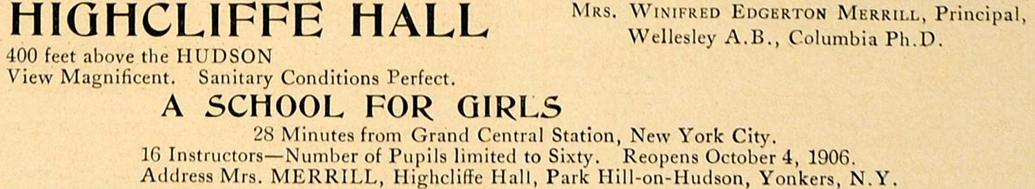 1906 Ad Highcliffe Hall School for Girls Yonkers NY - ORIGINAL ADVERTISING CL9