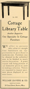 1906 Ad William Leaves Cottage Library Table Furniture - ORIGINAL CL9