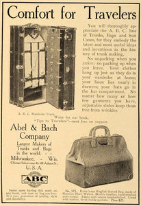 1906 Ad Abel Bach ABC Travelers Trunk Bags Suitcases - ORIGINAL ADVERTISING CL9