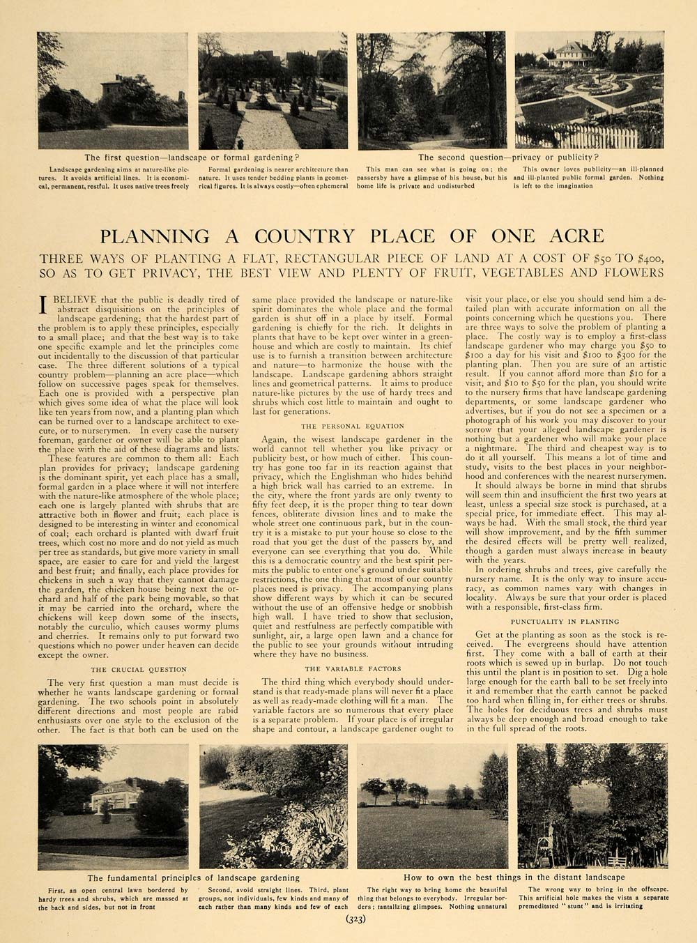 1905 Article Country House Acre Land Garden Evergreens - ORIGINAL CL9
