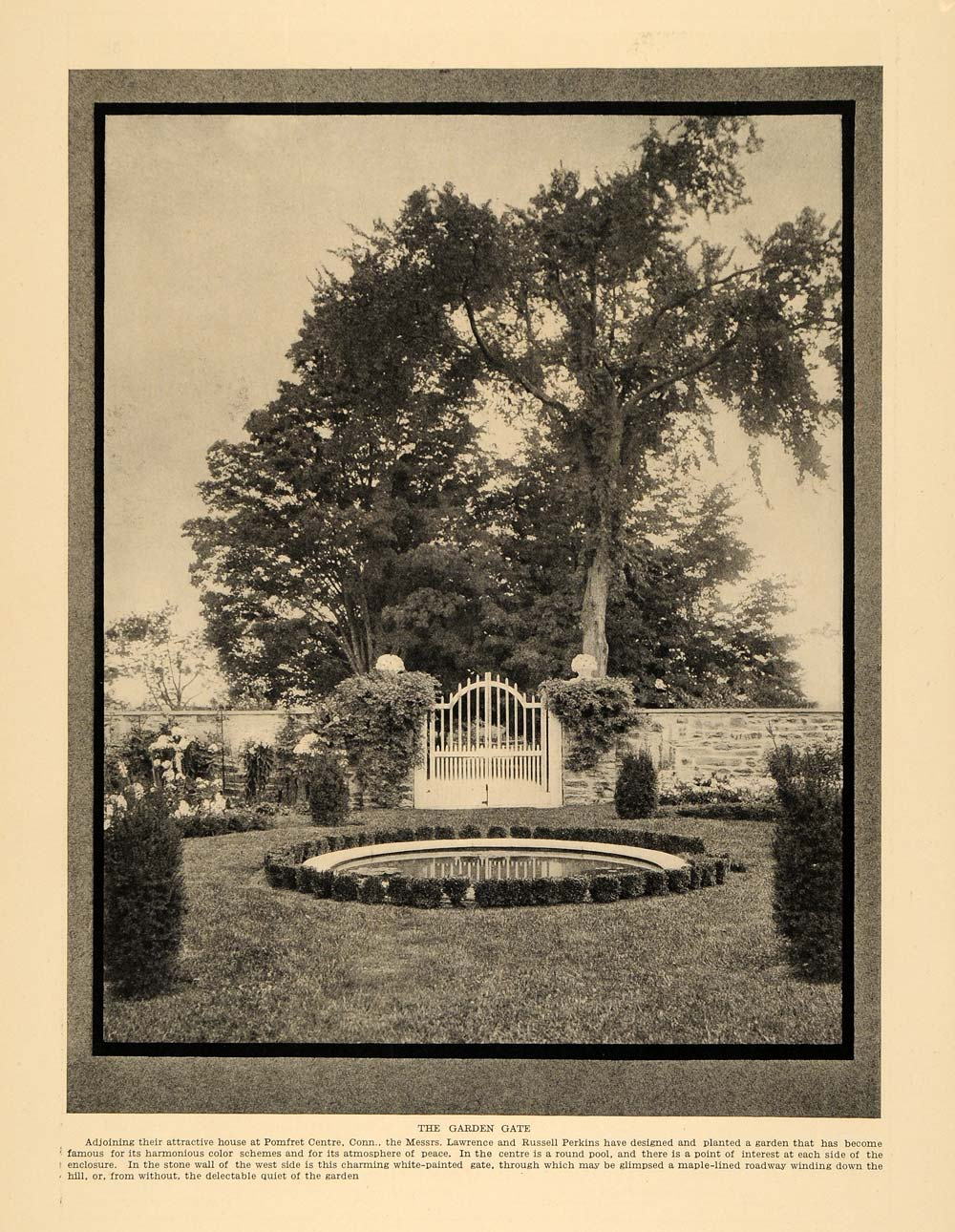 1913 Print Lawrence Russell Perkins Gate and Garden - ORIGINAL HISTORIC CL9