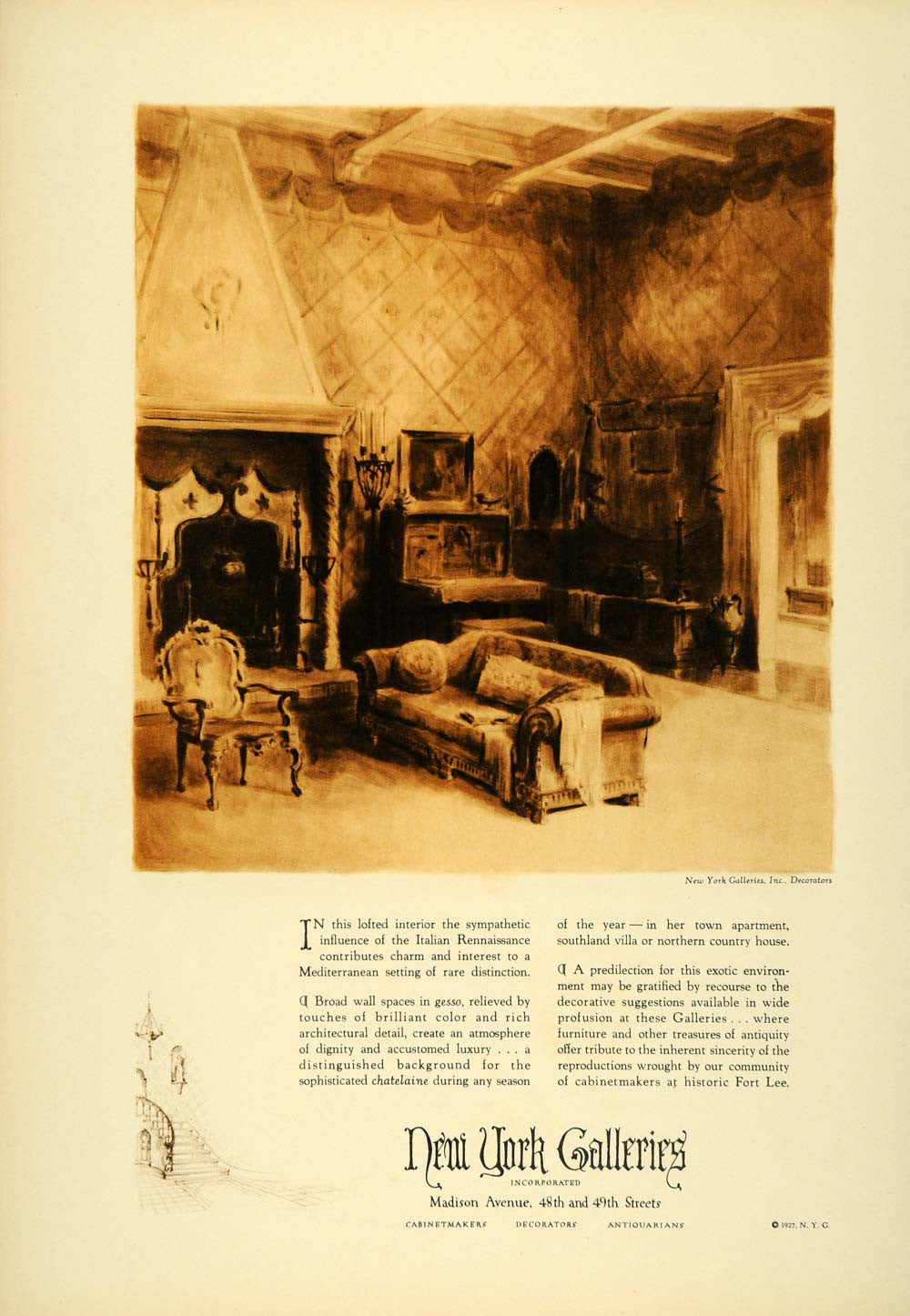 1927 Ad Home Decor Interior New York Galleries Design Room Apartment ...