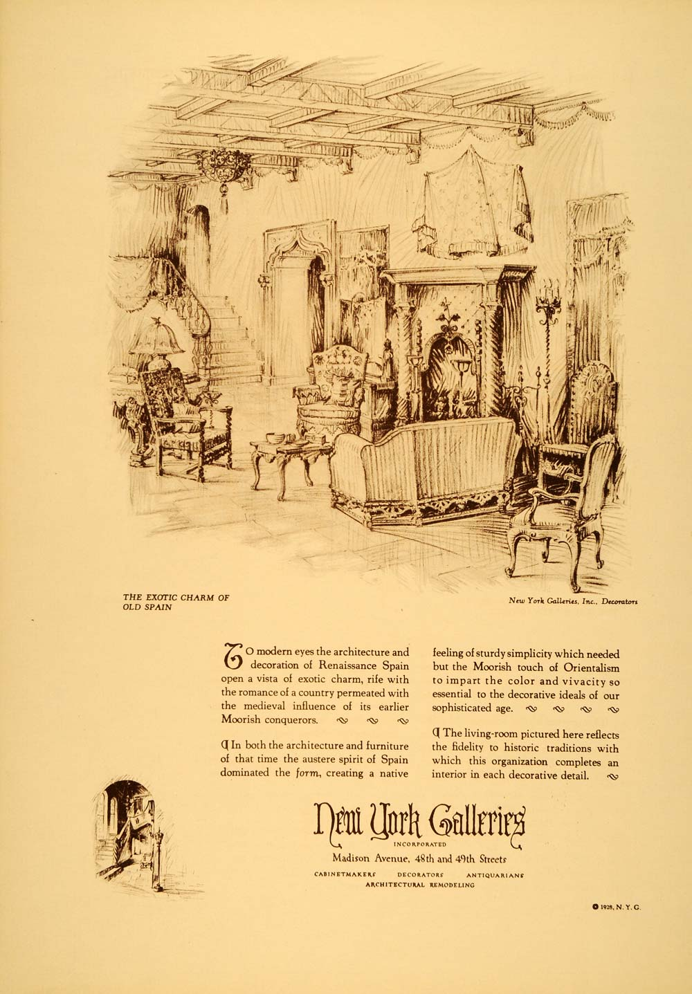 1928 Ad New York Galleries Interior Renaissance Decor Furniture Moor Sketch  CLA1