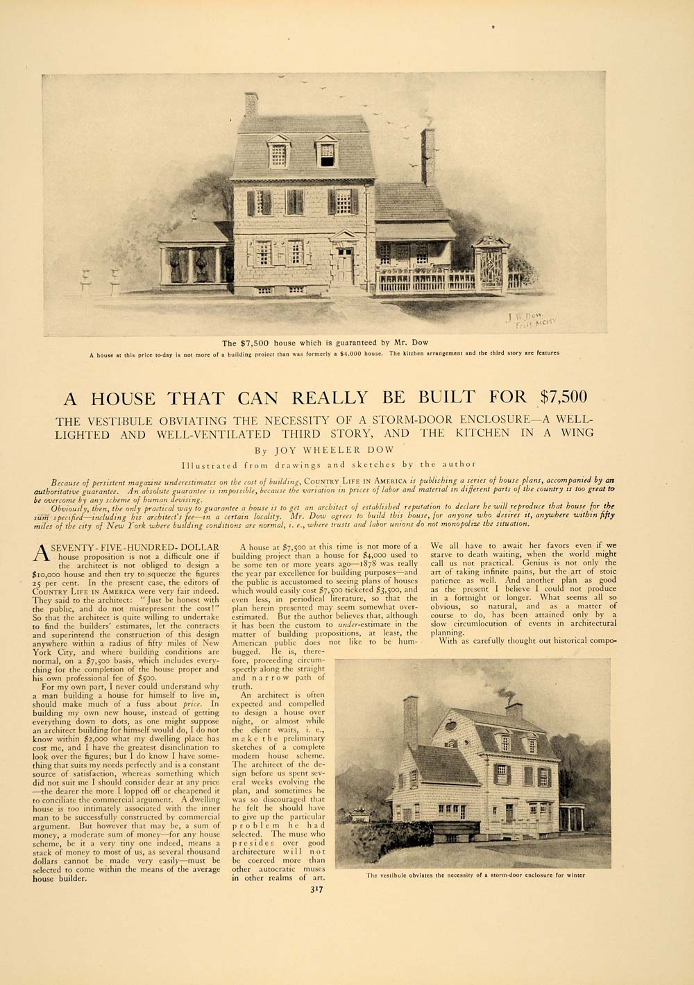 1906 Article House Building Inexpensive Residence Architecture Floor Plan CLA1