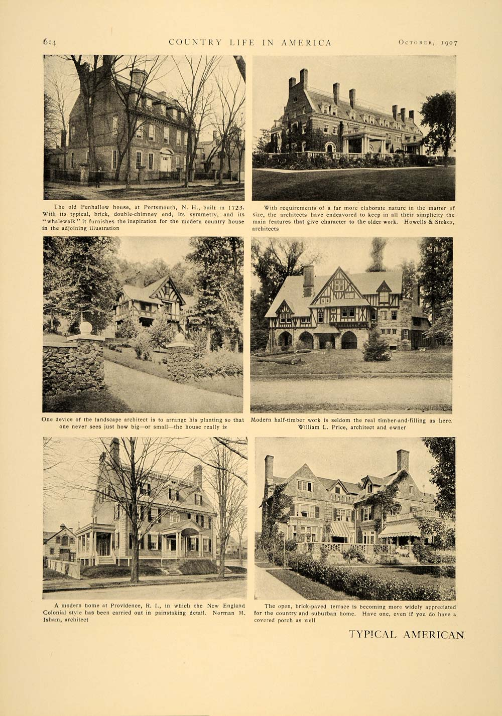 1907 Article American Country Architecture Decorative Landscaping William CLA1