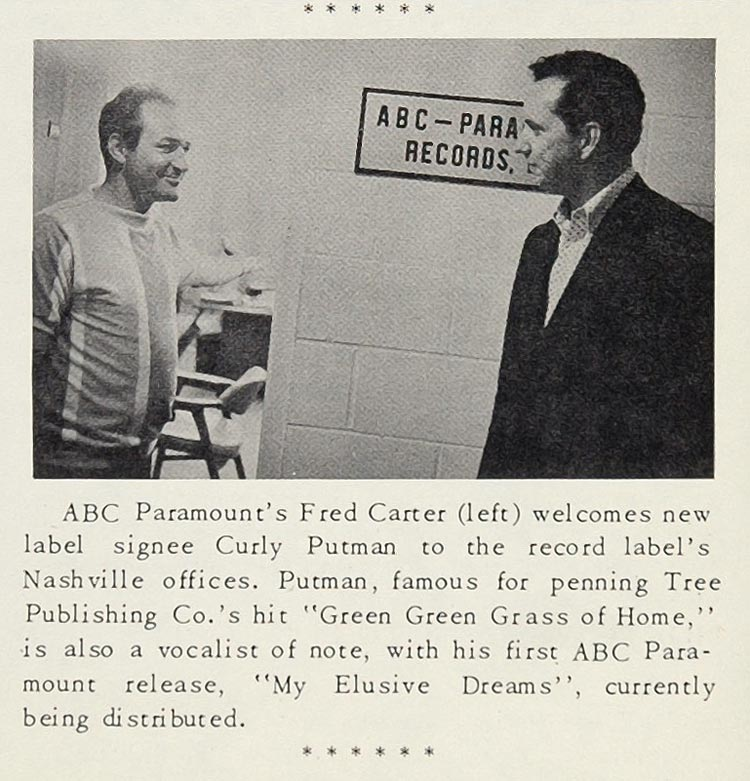 1967 Curly Putman ABC Paramount Record Carter Print - ORIGINAL HISTORIC CML