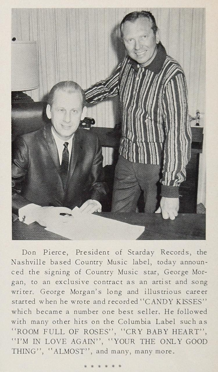 1967 Print Don Pierce Starday Records George Morgan - ORIGINAL HISTORIC CML