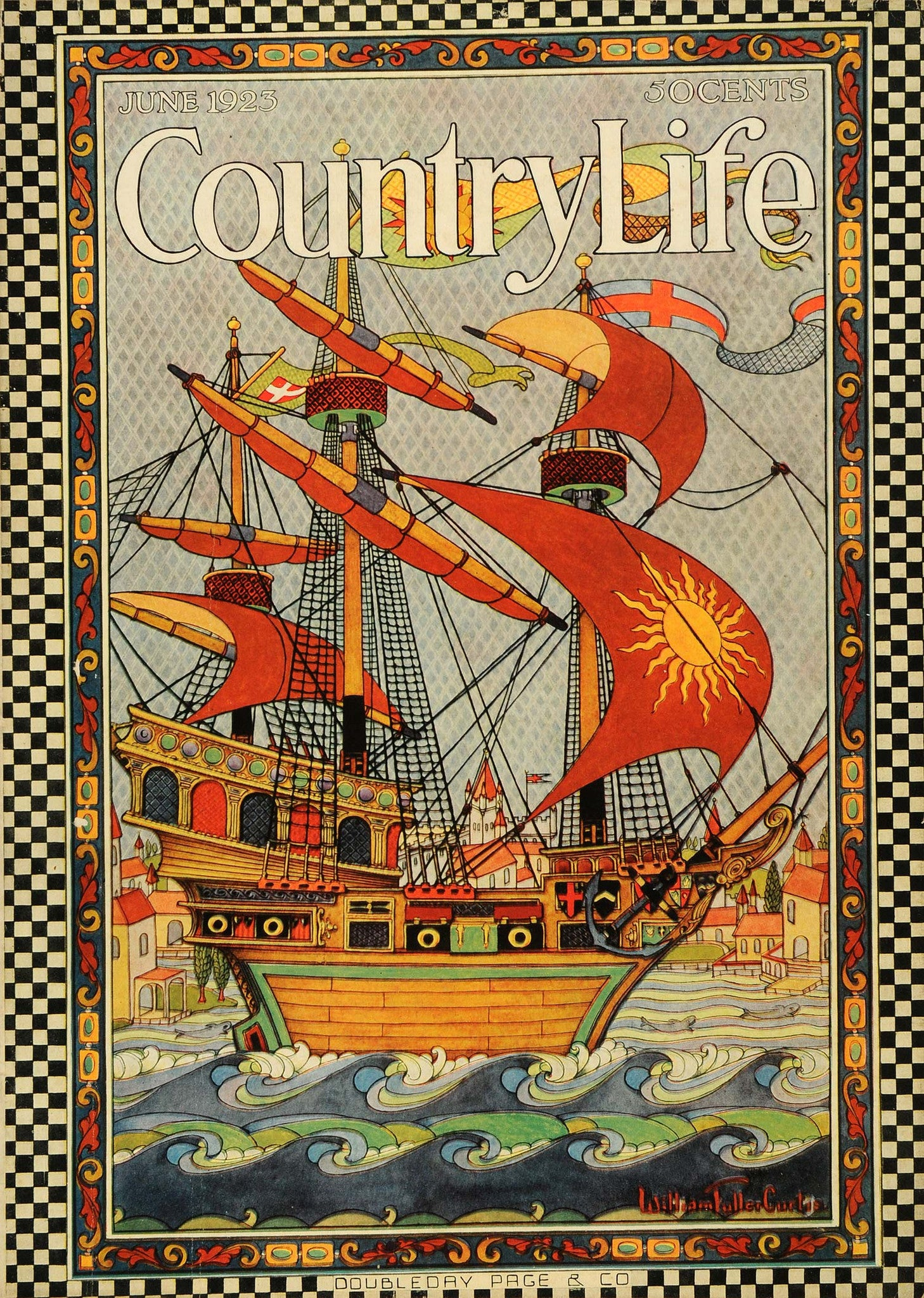 1923 Cover Country Life Ancient War Ship Battleship William Fuller Curtis COL2 - Period Paper