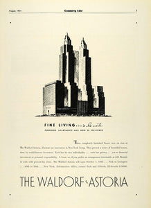 1931 Ad Waldorf Astoria Furnished New York Residential Apartments Housing COL2