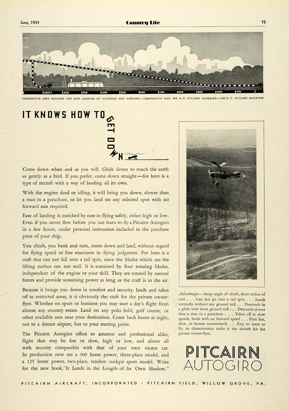 1931 Ad Pitcairn Autogiro Private Airplane Aircraft Pilot Aviation Flight COL2 - Period Paper