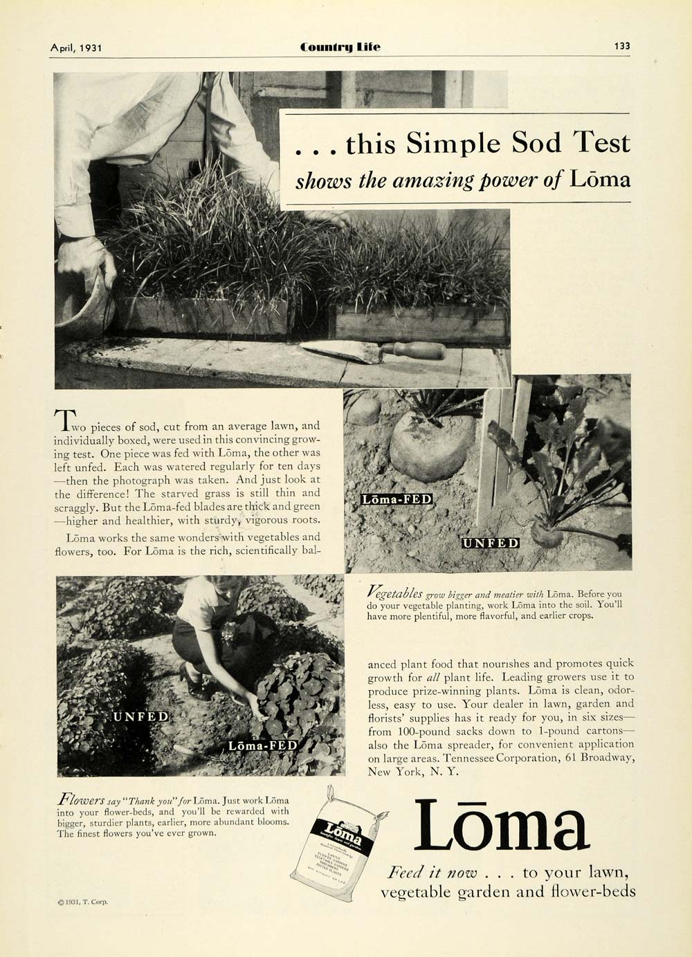 1931 Ad Loma Home Sod Garden Planting Lawn Care Maintenance Crop Fertilizer COL2