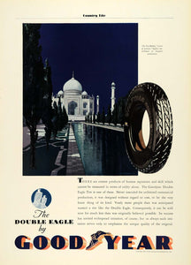 1931 Ad Goodyear Double Eagle Rubber Tires Taj Majal Mughal Palace COL2
