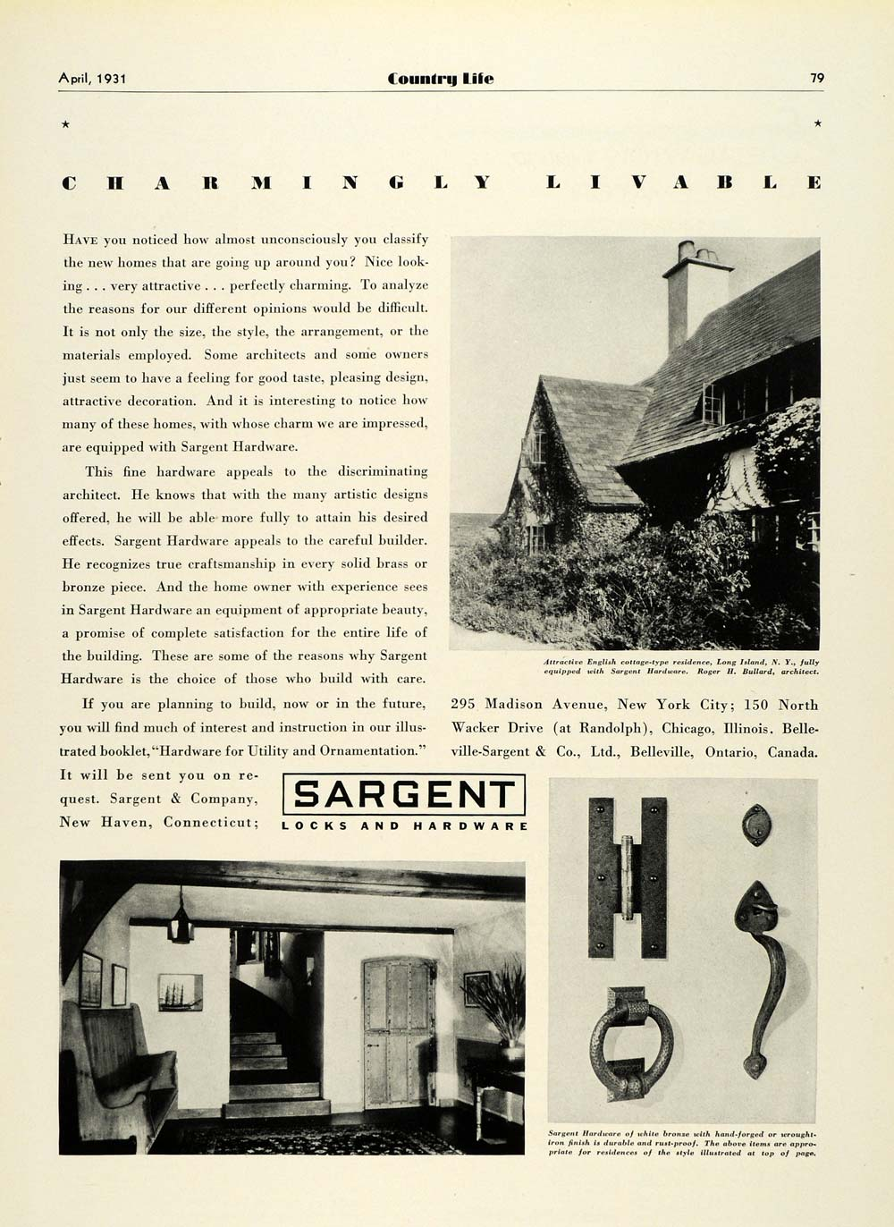 1931 Ad Sargent Door Knobs Knockers Locks Hardware English Cottage Long COL2