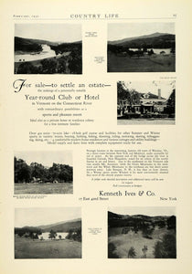 1930 Ad Kenneth Ives Club Hotel Real Estate Vermont Connecticut River COL2