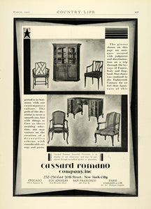 1930 Ad Cassard Romano Home Furnishings Imported Furniture France England COL2