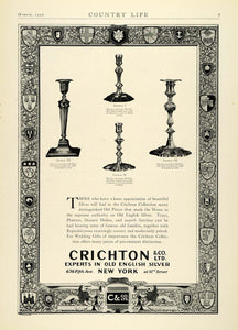1930 Ad Crichton Old English Silver George Candlesticks Household Decor NY COL2