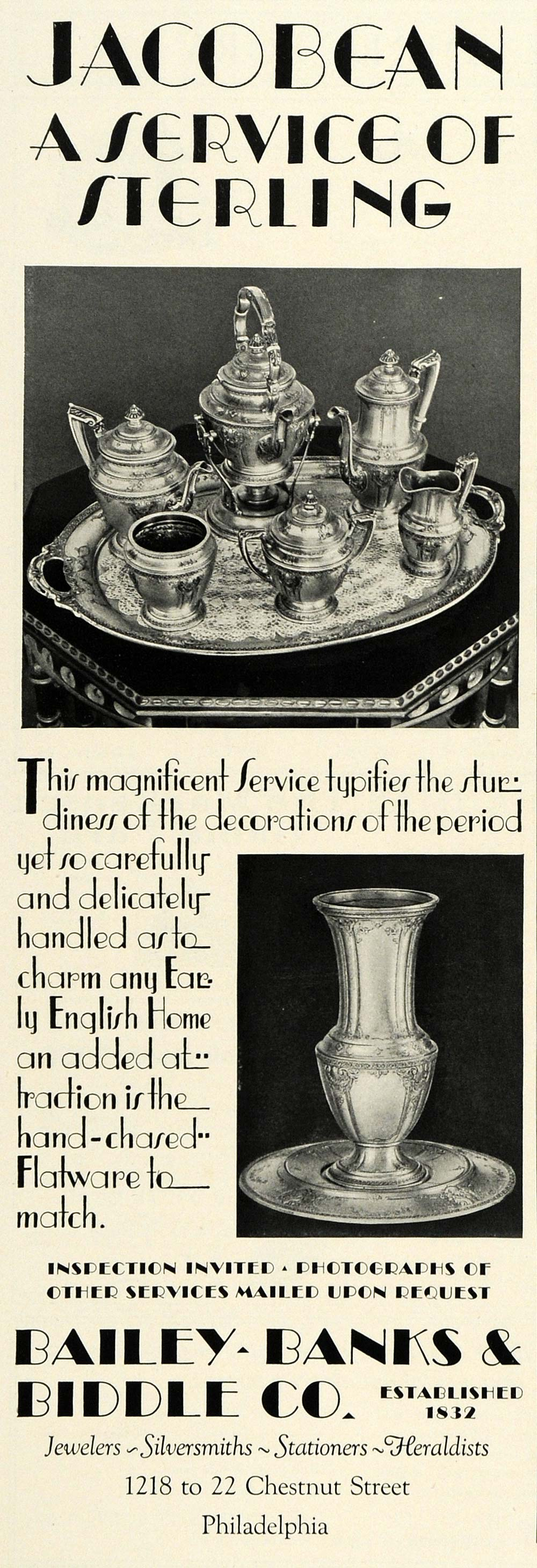 1930 Ad Bailey Banks Biddle Jacobean Period Sterling Silver Tea Set COL2