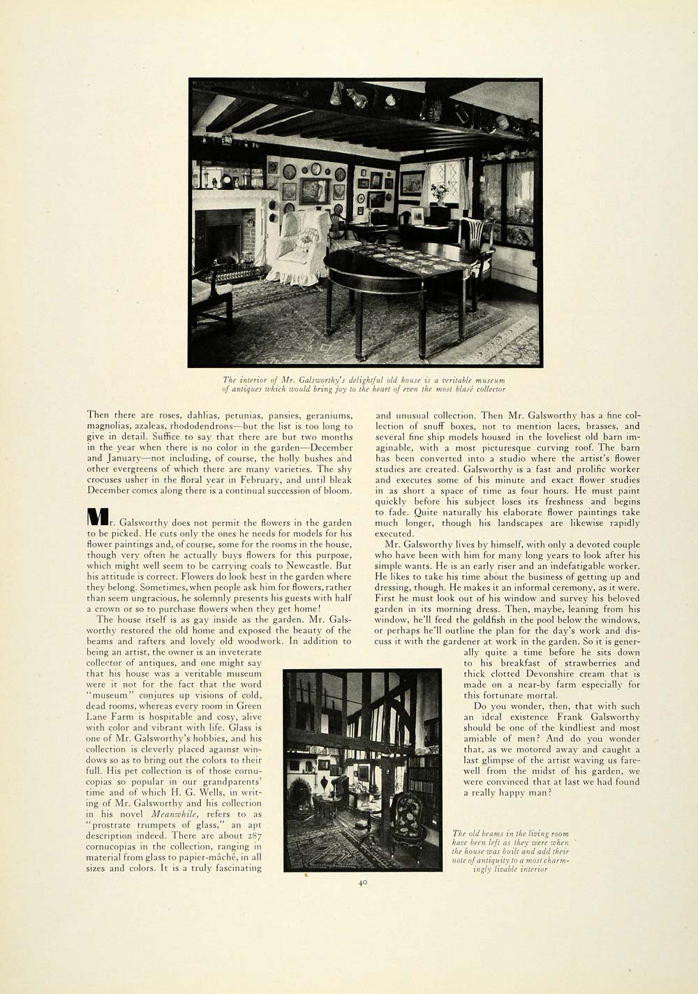 1930 Article Artist Frank Galsworthy Green Lane Farm Home Estate Surrey COL2