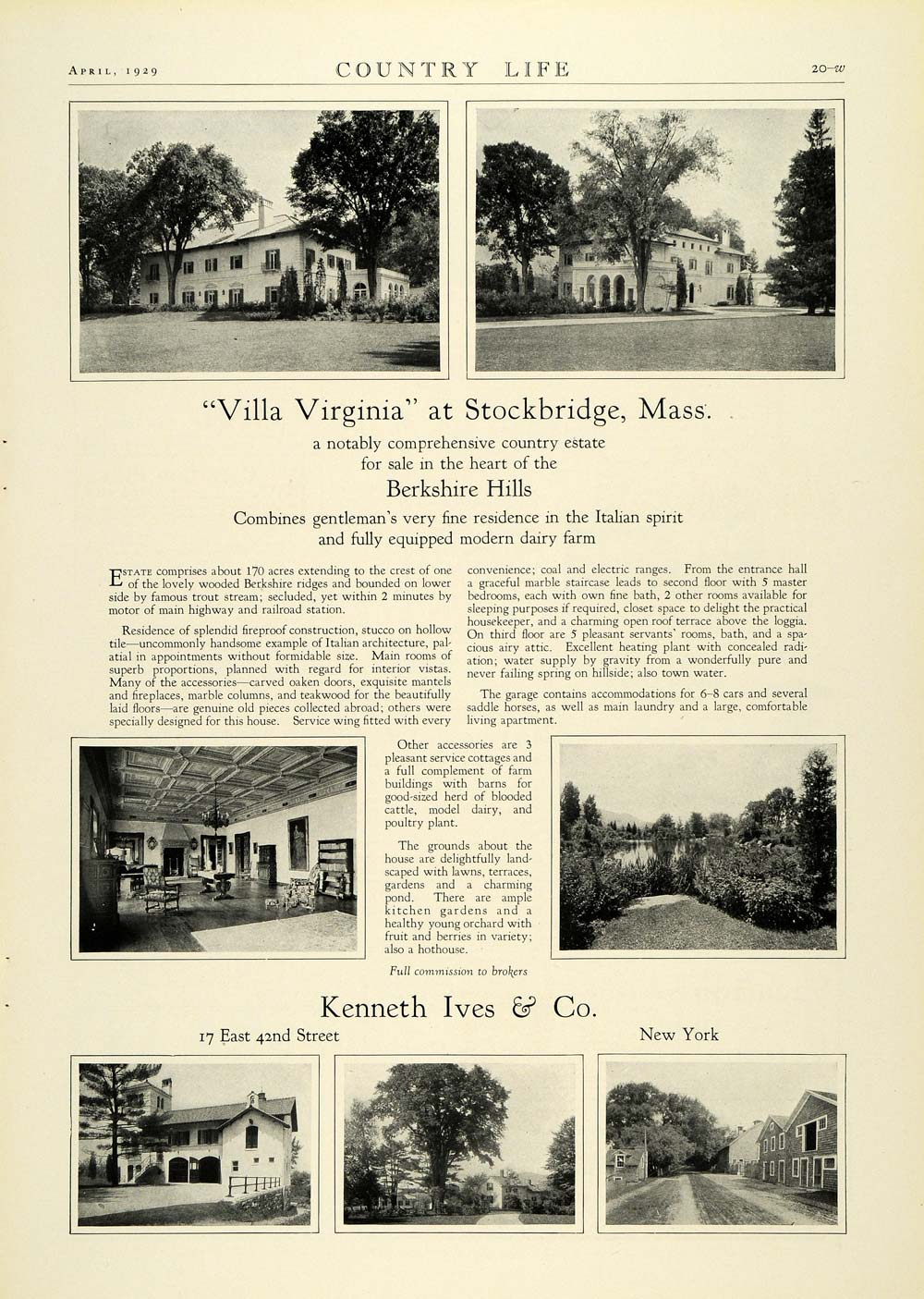 1929 Ad Kenneth Ives Realty Villa Virginia Berkshire Hills Stockbridge COL2