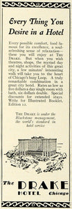 1929 Ad Chicago Lodging Drake Hotel Building Architecture Rates Blackstone COL2