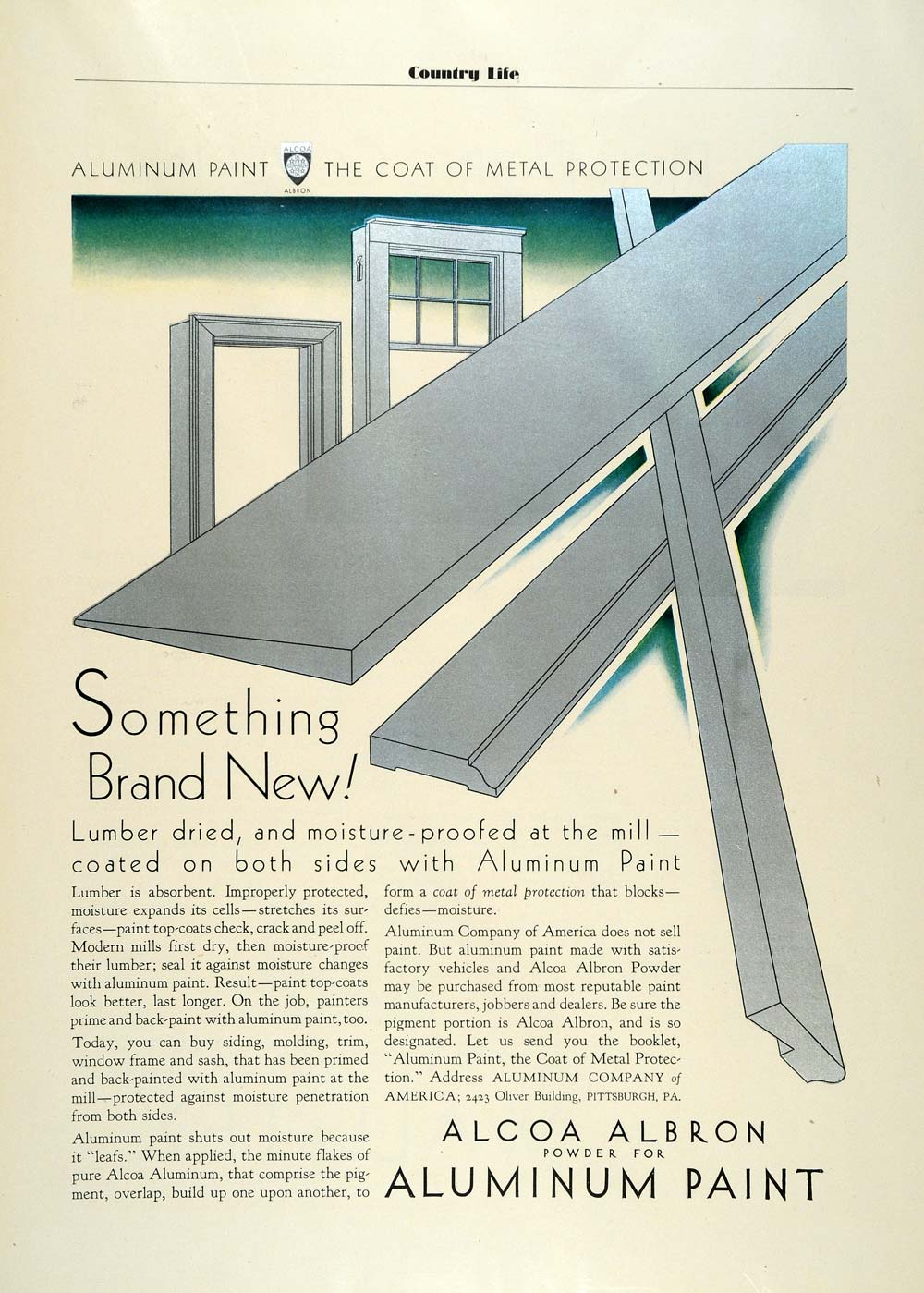 1931 Ad Aluminum Paint Alcoa Albron Powder Silver Ink Coat Metal Protection COL2