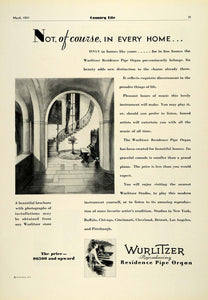 1931 Ad Wurlitzer Residence Pipe Organ Musical Instruments Piano Hall COL2